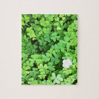 花が付いている春に育っている緑のクローバー ジグソーパズル