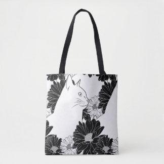 花が付いている白黒猫ラインスケッチ トートバッグ