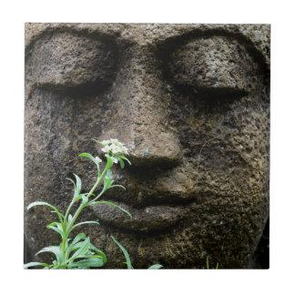 花が付いている石造りの庭の彫像 タイル