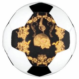 花が付いている素晴らしく黄色いスカル サッカーボール