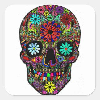 花が付いている色彩の鮮やかなスカル スクエアシール