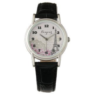 花が付いているBonjourのヴィンテージのエッフェル塔のコラージュ 腕時計