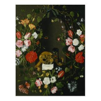 花が付いているVanitasの静物画 はがき