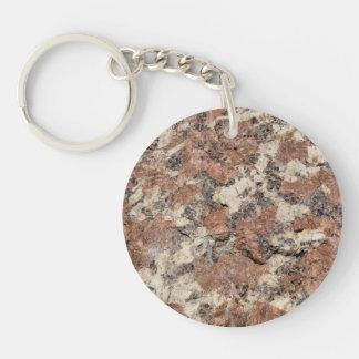 花こう岩の石の質 --- ピンクの黒い白 キーホルダー