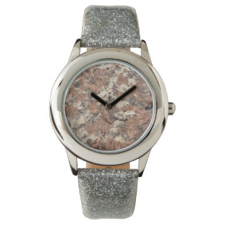花こう岩の石の質 --- ピンクの黒い白 腕時計