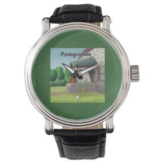 花こう岩(PomGranite)のおもしろいな腕時計のポメラニア犬 腕時計