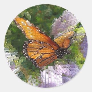花で休んでいるモザイクマダラチョウ ラウンドシール