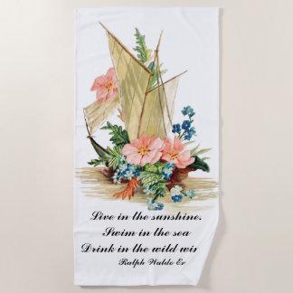 花で満ちているヴィンテージのヨット ビーチタオル