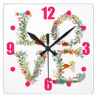 花で綴られる愛 スクエア壁時計