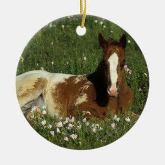 花で置いているAppaloosaの子馬 セラミックオーナメント