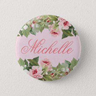 花とのピンクのエレガントな花の一流ボタン 5.7CM 丸型バッジ