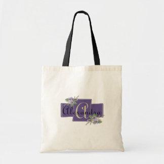 花とのモノグラムのデザイン トートバッグ