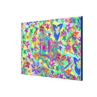 花との大理石模様をつけられた色I キャンバスプリント