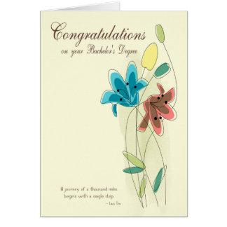 花との学士号のためのお祝い カード