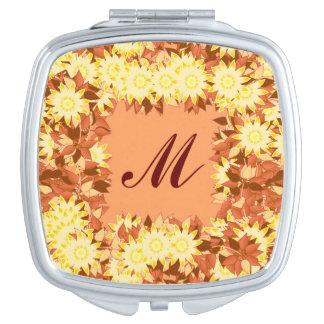 花と組み立てられるモノグラム-ココア及び黄色