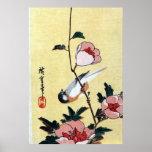花に鳥、広重の鳥および花、Hiroshige、Ukiyo-e ポスター