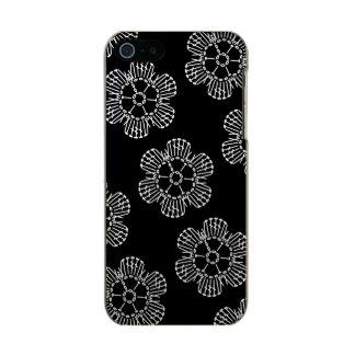 花のかぎ針編みの図表パターン(タイルを張られる黒い及び白) メタリックiPhone SE/5/5sケース