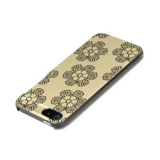 花のかぎ針編みの図表パターン(タイルを張られる) メタリックiPhone SE/5/5sケース