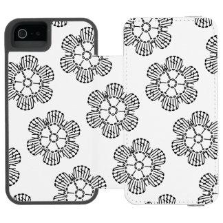 花のかぎ針編みの図表パターン(タイルを張られる) INCIPIO WATSON™ iPhone 5 財布 ケース