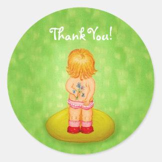 花のかわいい小さな女の子の花束ありがとう ラウンドシール