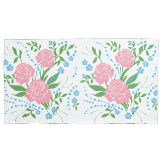 花のかわいい赤いバラおよび花の枕カバー 枕カバー