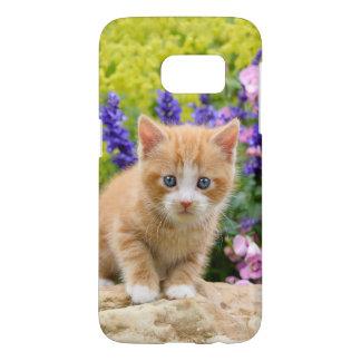 花のかわいく柔らかいショウガのベビー猫の子ネコ- SAMSUNG GALAXY S7 ケース