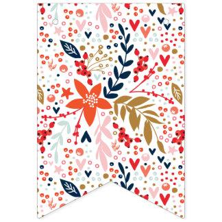 花のかわいらしいパーティーの装飾の旗布の旗 バンティングフラッグ