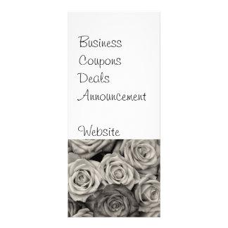 花のかわいらしい白黒バラの花束 ラックカード