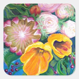 花のつぼ -- プロテア、チューリップおよびバラ スクエアシール