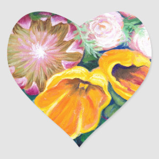 花のつぼ -- プロテア、チューリップおよびバラ ハートシール