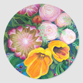 花のつぼ -- プロテア、チューリップおよびバラ ラウンドシール