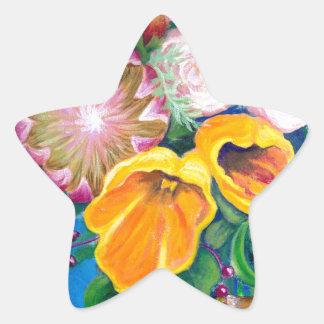 花のつぼ -- プロテア、チューリップおよびバラ 星シール