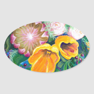 花のつぼ -- プロテア、チューリップおよびバラ 楕円形シール