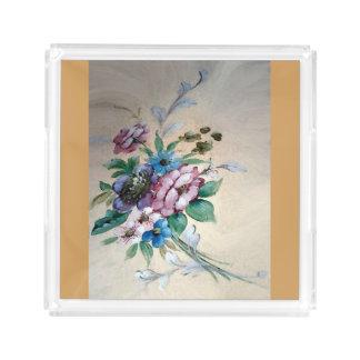 """花ののかわいらしい`の花束""""アクリルの皿 アクリルトレー"""