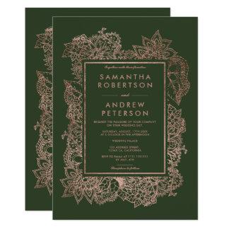 花ののどのばら色の金ゴールドフレームのハンター緑の結婚式 カード