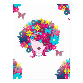 花のアフロ型 ポストカード