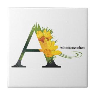 花のアルファベット タイル