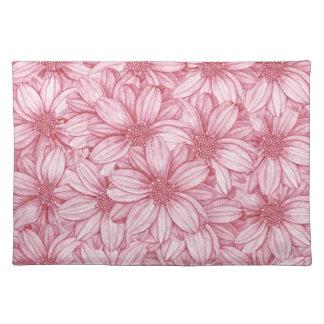 花のイラストラティブプリント ランチョンマット