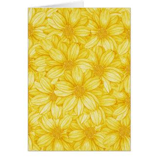 花のイラストラティブ黄色いプリント カード