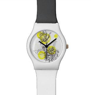 花のイラストレーションの腕時計 腕時計