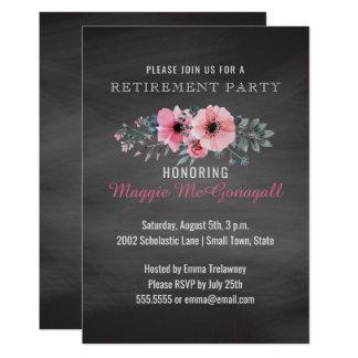 花のエレガントな黒板の退職パーティーの先生 カード