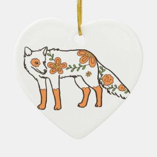 花のオオカミ 陶器製ハート型オーナメント
