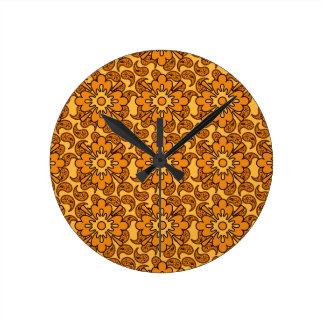 花のオレンジペイズリーパターン柱時計 ラウンド壁時計