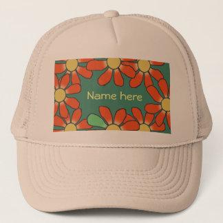 花のオレンジ緑 キャップ
