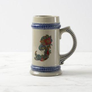 花のカールの抽象芸術の近代美術 ビールジョッキ