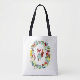 花のキツネ トートバッグ