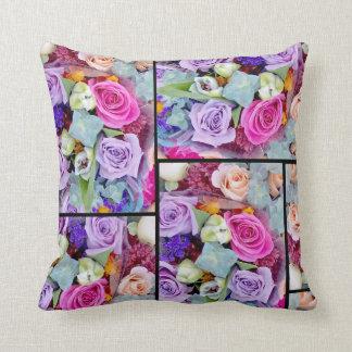 花のコラージュの枕 クッション