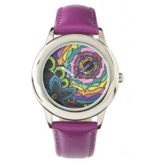 花のコラージュの腕時計 腕時計