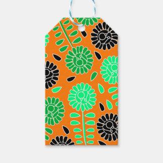 花のコントラストのオレンジ ギフトタグ