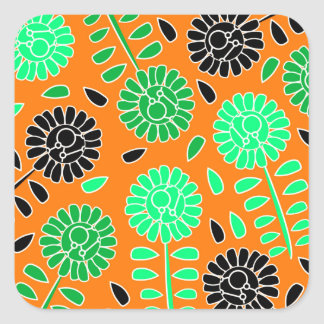 花のコントラストのオレンジ スクエアシール